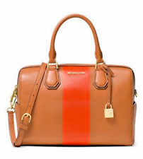 NWT MICHAEL KORS LEATHER CENTER STRIPE MERCER MEDIUM SATCHEL DUFFEL ACORN/ORANGE
