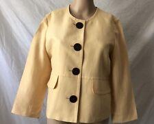 Kasper Womens Jacket Blazer Yellow Sz 6 Linen Blend Career Work Summer Spring