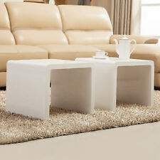 High Gloss White Coffee Table Design Side/End Table Set of 2 Living Room