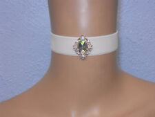 Cream Velvet Choker Necklace Pink /Rainbow Jewel Victorian Wedding FREE GIFT BOX