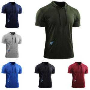 Mens Short Sleeve Hoodie Hooded T-Shirt Summer Casual Blouse Sport Slim Fit Tops