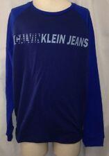 Calvin Klein Jeans Boys Long Sleeve Blue Logo Shirt Size Youth Large