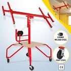 11FT Drywall Lift Panel Hoist Jack Lifter Lockable Rolling Tools w/ Footboard