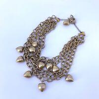 Vintage Anne Klein Gold Tone Heart Charm Multi-strand Necklace