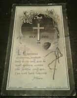 Antique Holy Memory Card Vintage Death funeral mourning RIP Ernest Marcoux cross
