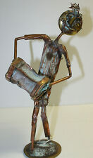 Kosie Wium copper metal statue - Concertina Accordian-South Africa artist signed
