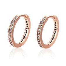 Fashion Women Jewelry 925 Sterling Silver CZ Small Round Ear Stud Hoop Earrings