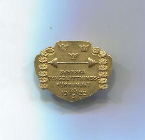 VINTAGE WEIGHTLIFTING FEDERATION SWEDEN 1922 SILVER & GILT PIN BADGE ORIGINAL!!!