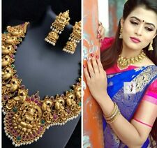 Indian Bollywood Choker Set Ruby Pearl Jewelry Necklace Gold Style Kundan Bridal