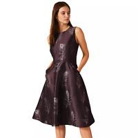 PHASE EIGHT Purple Rosanna Feather Jacquard Dress - SIZE UK 14