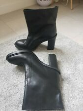 Zara Black Leather Block High Heel Ankle Boots Size 4 UK/37 EU RRP £89