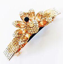 USA BARRETTE Using Swarovski Crystal Hair Clip Pin Accessory Gold Peacock 2