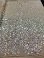 Iridescent Pink Sequins 4 Way Stretch Sequin Fabric Mesh Prom-Gown By The Yard