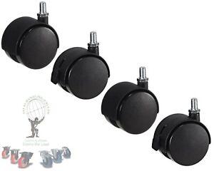 4 x 50mm FURNITURE CASTOR WHEELS M8 threaded  BLACK SWIVEL CASTERS (CASTER)