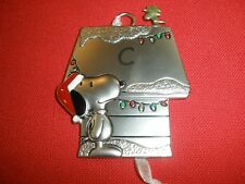 "Nwt! Initial""C"" Hallmark Pewter Ornament Peanuts Snoopy And Woodstock ~S8"