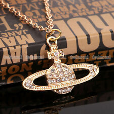 New Crystal Rhinestone saturn Planet Gold colour Necklace gw46