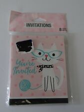 Purr-Fect Party Kitty Cat Birthday/Other Invitations (8 Count) 50's BLANK INSIDE