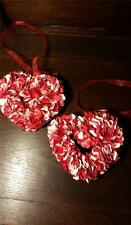 "NWT set of 2 VALENTINE 5"" FLORAL HYDRANGEA HEART SHAPED HANGING WREATH ORNAMENT"