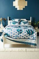 """NWT SUNO for Anthropologie Embroidered Diani King Quilt Blue Green 96"""" x 104"""""""