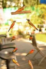 Wooden Birds Hanging Mobile Wind Garden Home Decor Handmade Handcraft Paint