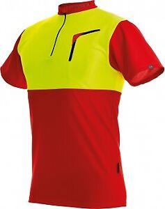 Pfanner Zipp-Neck Shirt, Rot/Leuchtgelb, kurzarm