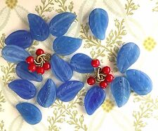 Czech Leaves, Vintage Leaf Beads, Czech Beads,Sapphire Leaves,Glass beads,#1629
