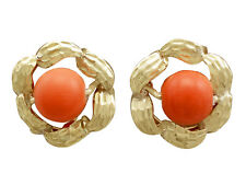 1970s Red Coral and 18k Yellow Gold Stud Earrings