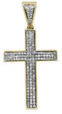 "Mens 10k Yellow Gold3 Row Puff Pave Genuine Diamond Cross Pendant .74 Ct 1.5"""