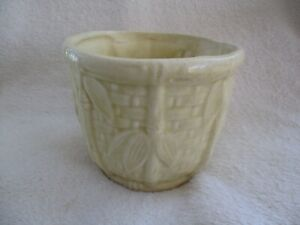Vintage Art Pottery Yellow Basket Weave And Leaves Jardiniere  *VGUC*