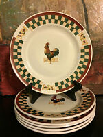 1 Betty Crocker Country Inn ROOSTER DINNER PLATES * Checkerboard & Chicken