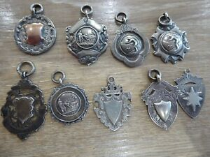 SUPERB QUALITY LOT OF ANTIQUE SOLID SILVER FOBS // x9 IN TOTAL