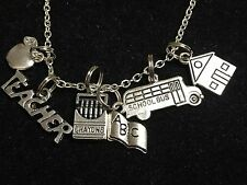 "School Teacher Things Crayola's Charm Tibetan Silver 18"" Necklace BIN"