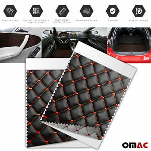 55x39 inch Embossed Black Faux Leather Lining Red Diamond Stitch Car Upholstery