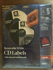 NEW Avery Laser Printer Removable CD/DVD Labels 5931 Pack of 50 FREE S&H