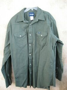 Wrangler~NWOT~Pine Green Long Sleeved Button Down 100% Heavy Cotton Shirt~2XTall