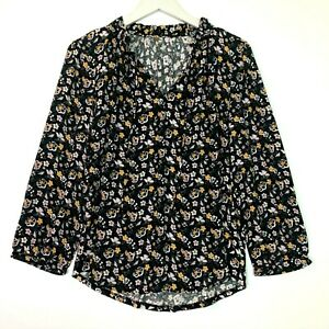 Loft floral long sleeve ruffled top black size small petite sp