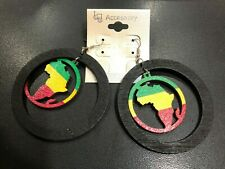 BLACK EARRINGS with RED GOLD GREEN MAP OF AFRICA IN CIRCLE  7cm circumference