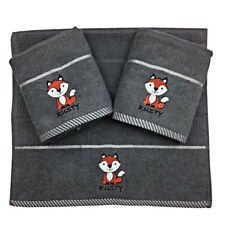 Riggs Set Of 3 Grey Fox Embroidered Kitchen Tea Towel, 40cm x 70cm, 100% Cotton
