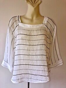 THE ARK  Size M 12 Sheer White with grey stripe Top