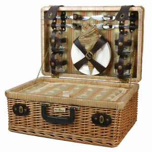The Terazzo Basket, Willow picnic basket with service for four