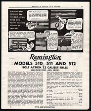 1951 REMINGTON 510, 511, 512 Bolt Action Rifle AD w/original prices and specs
