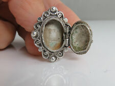 Antique Sterling Silver Filigree Poison Pill Box Locket Ring Size 4.25