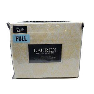 Lauren Ralph Lauren  Full Sheet Set Cotton 4 Piece Floral White Yellow