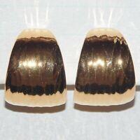 Vintage signed Napier wide textured gold tone clip screwback hoop earrings