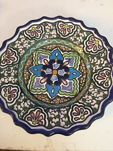 Vintage Decorative Mexican Hecho Painted Pottery Plate Signed