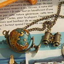 Charme femmes bijoux long globe télescope celebrity bronze collier pendentif chaîne
