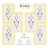 USB Wall Outlet Night Light-Duplex Receptacle Wall Plate 15A Plug Socket Charger