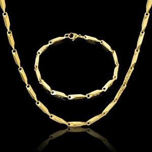 Set Curb Bracelet 0 1/8in Stainless Steel 750er Gold 18K Plated Silver S3109
