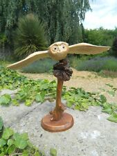 Wooden Owl Carving - Hand Carved Flying Owl Bird on Stained Parasite Wood