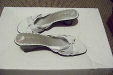 womens liz claiborne trina white leather strappy slip on wedge heels shoes 8 1/2